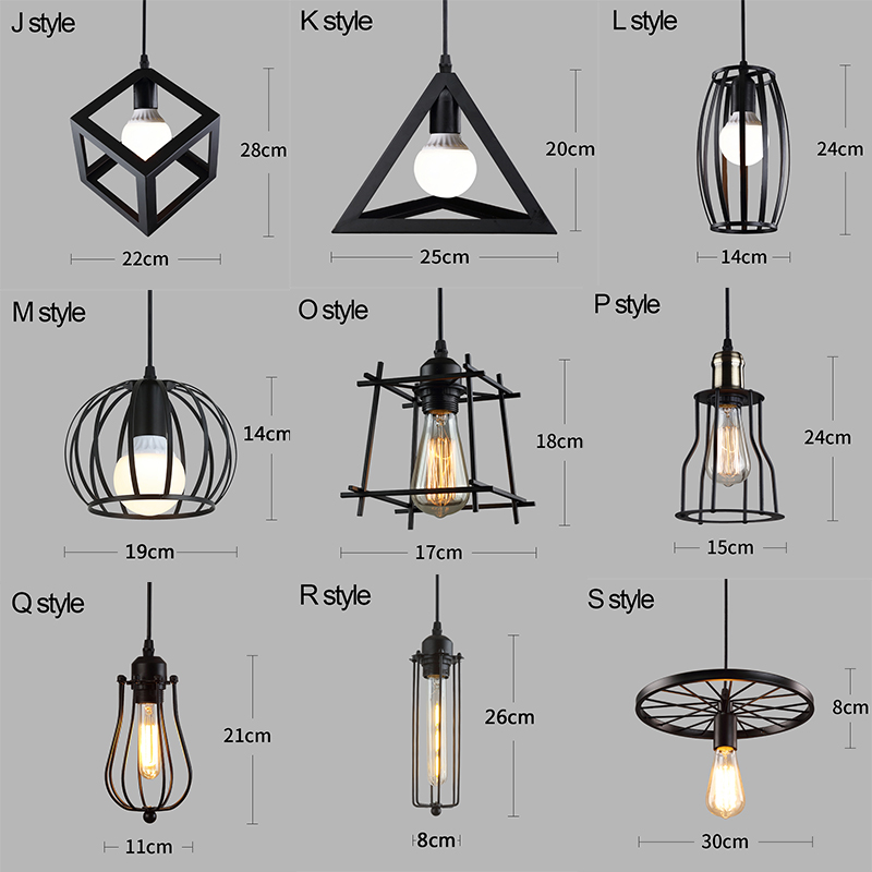 cheapest Black Vintage Industrial Pendant Light Nordic Retro Lights Iron Lampshade Loft Edison Lamp Metal Cage Dining Room Countryside