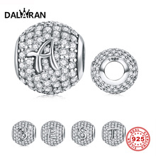 DALARAN 925 Sterling Silver 26 Letter Vintage A to Z Clear CZ Bead Charms Fit Original Bracelets DIY Jewelry Making for Women