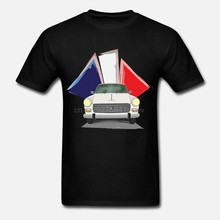 Men Funny t shirt cotton short sleeve tshirts women T-Shirt Illustration of a White Peugeot 404 with the French Flag Behind(China)