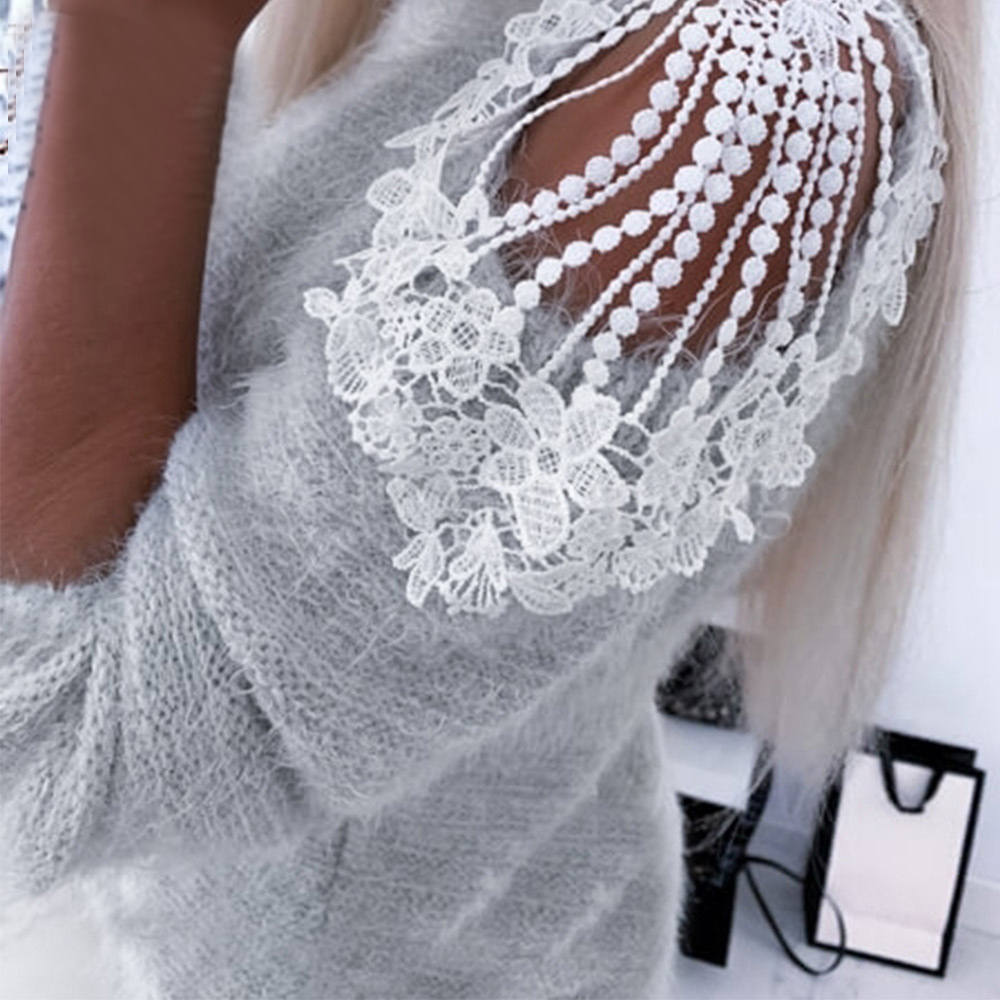 2020 Spring New Women Sexy Off Shoulder Blouse Clothing Women Cloth Lace Patchwork Solid Long Sleeve Blusas Female Tops