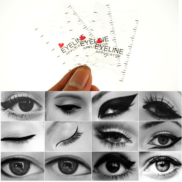 Salon Shaping Tools Make Up DIY Card Type Durable ABS White Professional Cat Eye Eyeliner Stencils 1