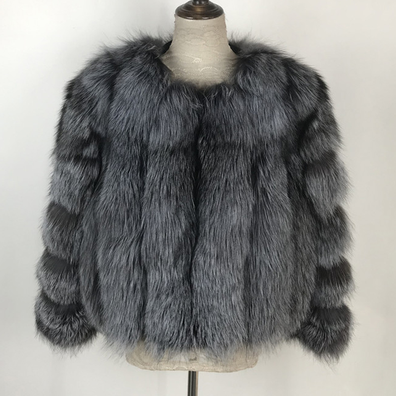 Image 2 - Fashion Silver Fox Real Fur Coat Thick Warm Blue Fox Womens Coats 2019 Winter Whole Skin Natural Fur O Neck Elegant Costumereal fox fur coatblue fox fur coatfox fur coat -