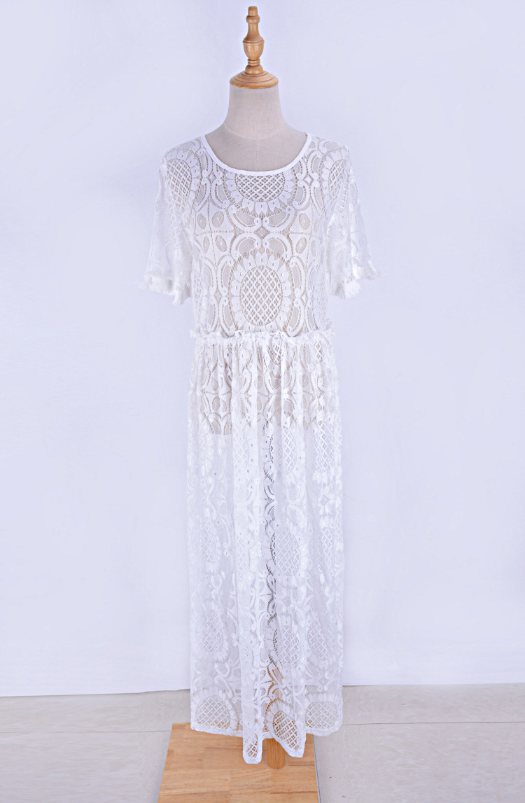 Europe And America New Style Pure Lace Short Sleeve Long Skirts Beach Skirt Bikini Cover-up One Piece Long Skirts Holiday Long S