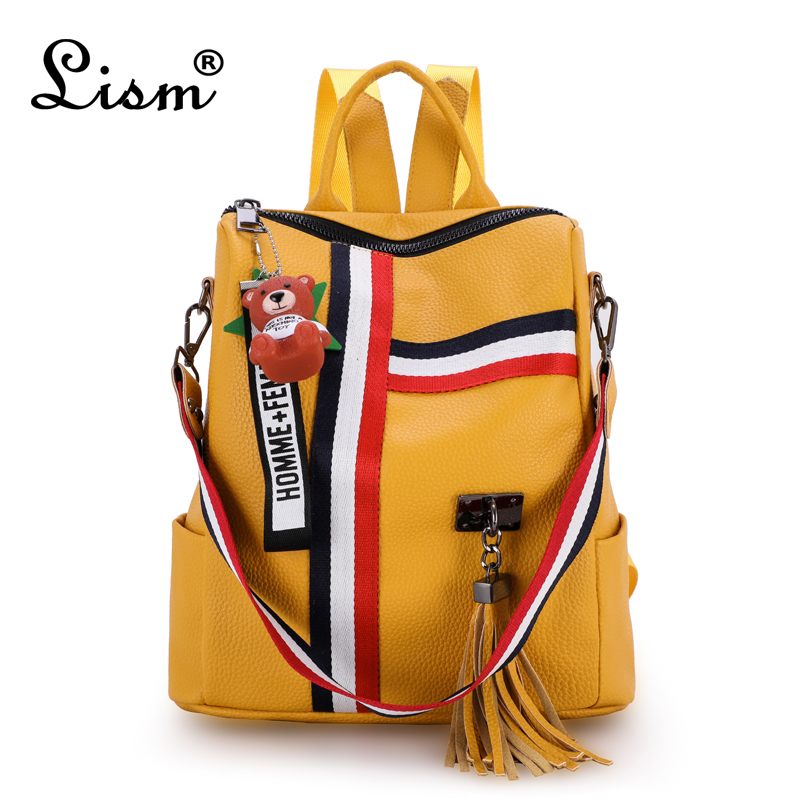 LISM Shoulder Bag For Young Tassel Leather Bags 2018 New Retro Fashion Zipper Ladies Backpack Leather High Quality School Bag