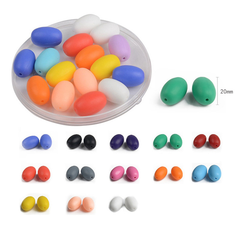 5Pcs Colorful Food Grade Oval Beads Silicone Teether Bead For Necklace DIY Pacifier Chain Nursing Necklace Baby Teether Toy Gift