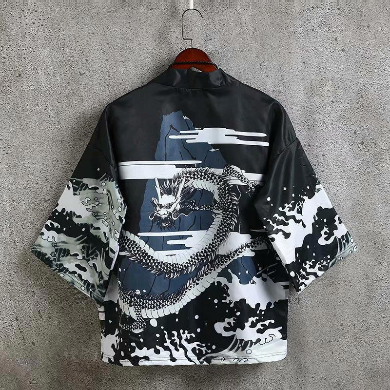 Men's Dragon Printed Kimono Cardigan Casual Japanese Style Cotton Seven Sleeves Open Front Coat Shirts For Male