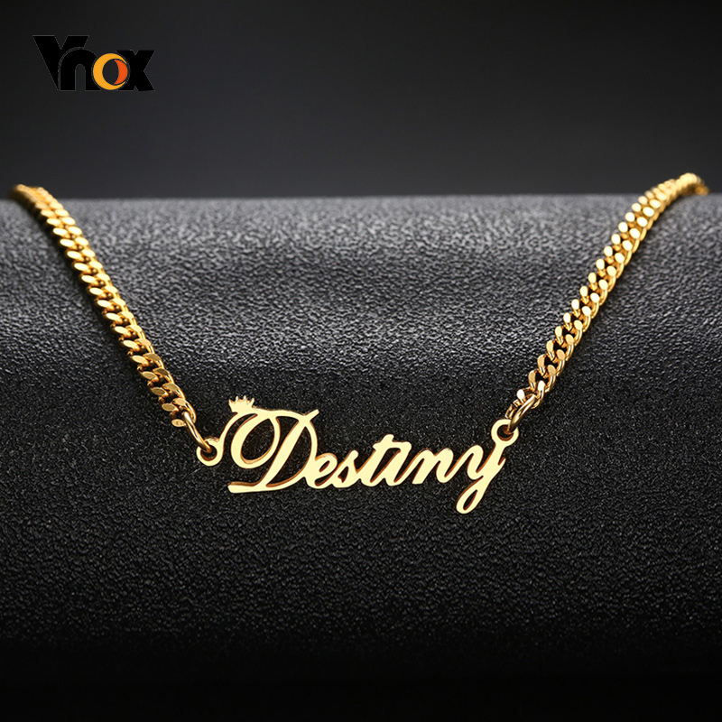 Vnox Women's Personalize Name Stainless Steel Necklaces For Men Unisex Custom Gifts Jewelry And Gold Tone