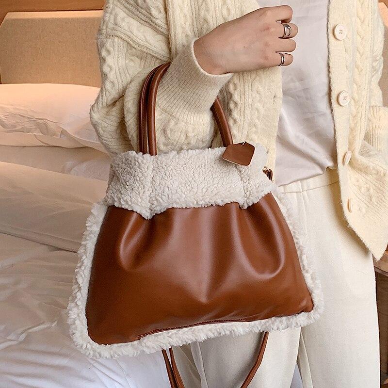 Puimentiua Fashion Designer Plush Handbgs Luxury Leather Crossbody Bag For Women Large Capacity Lamb Cashmere Tote Ladies  Purse