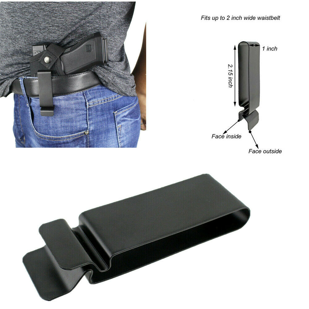 Metal Holster Sheath Belt Clip Clasp Spring Hook Buckle Leather Craft Black