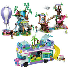 2020 novo em estoque amizade ônibus tigre balão de ar quente resgate amigos blocos de construção tijolos brinquedos natal criança