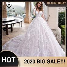 Mangas compridas vestido de baile vestido de casamento swanskirt k185 querida apliques laço capela trem princesa vestido de noiva