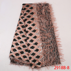 Latest African Jacquard Lace Fabric Brocade Lace with Feather High Quality Nigerian Tissu for Party Wedding Dresses APW2918B