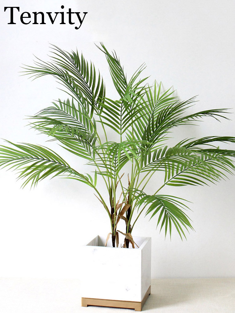 Plastic Artificial Palm Leaf Plants Green Desert Summer Decoration Tropical Fake Plant Garden Home Jungle Party Decor Wedding