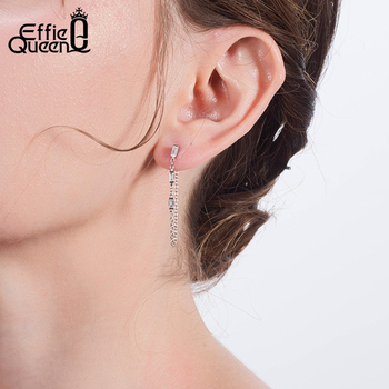 Effie Queen 925 Silver Chain Earring Texture Dangle Long Drop Earring With AAAA  Zircon Earring Jewelry Party Gift BE238 2