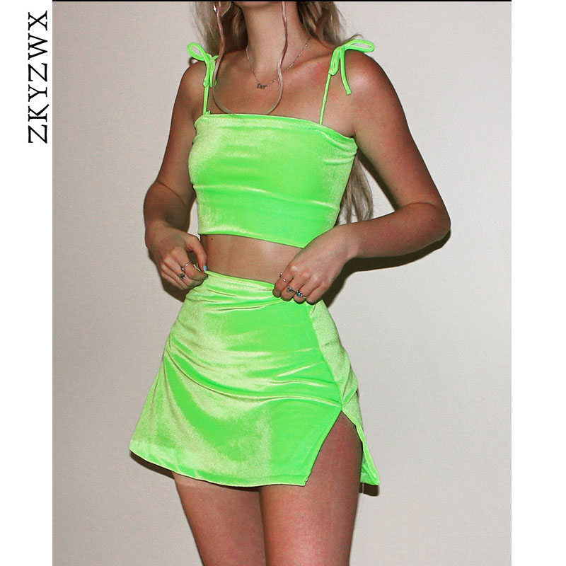 ZKYZWX Neon Velour Women Two Piece Outfits Festival Clothing Velvet Backless Crop Top+Slit Mini Skirt Sexy 2 Piece Matching Sets