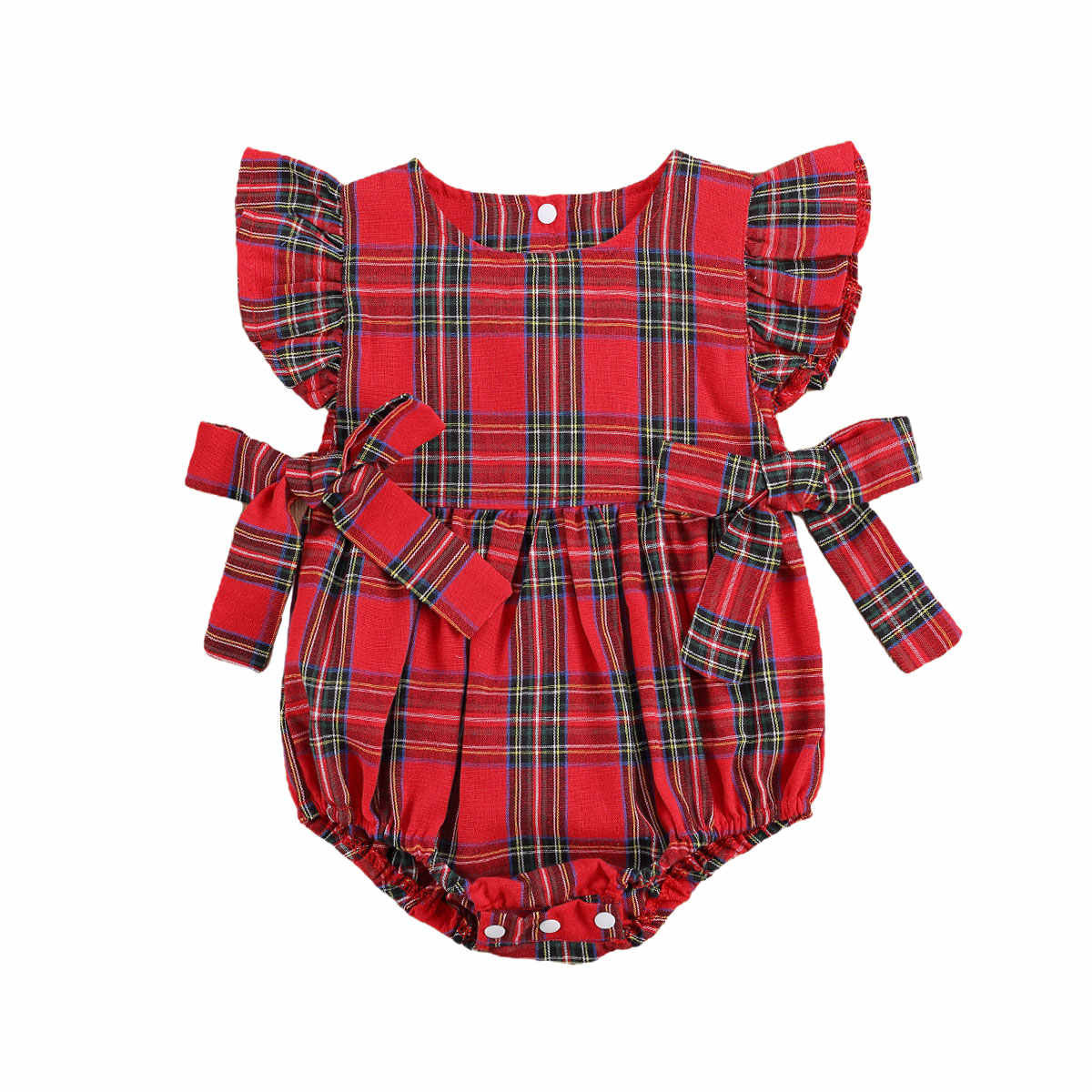 Infant Baby Girl Plaid Print Jumpsuit with Bow-knot, Ruffle Sleeve O-neck Tops, Button-up Clothing for Summer