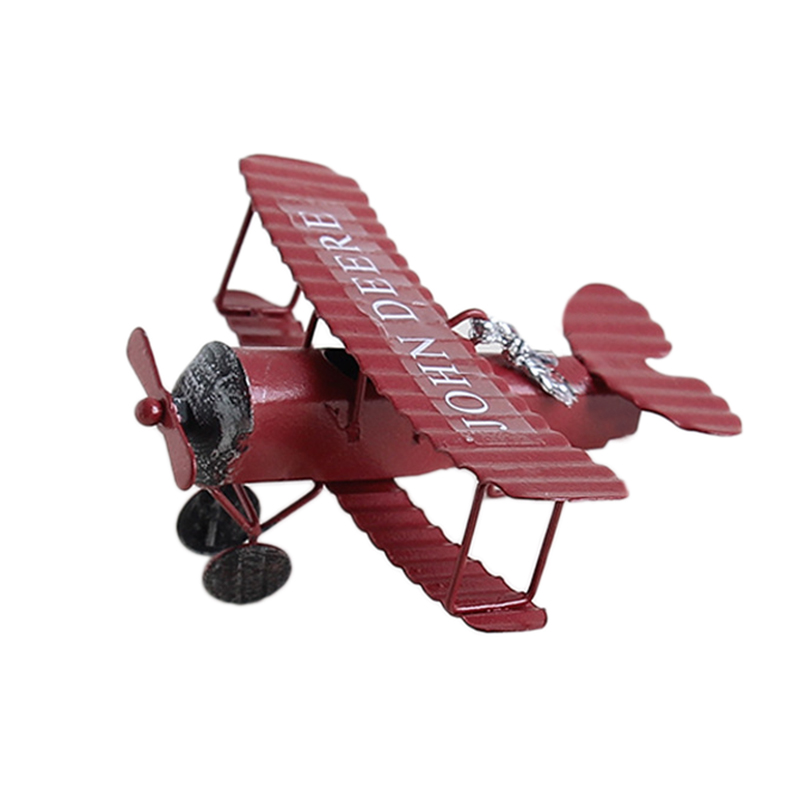 Retro Airplane Figurines Metal Plane Model Vintage Glider Airplane Home Decor Miniatures Red image