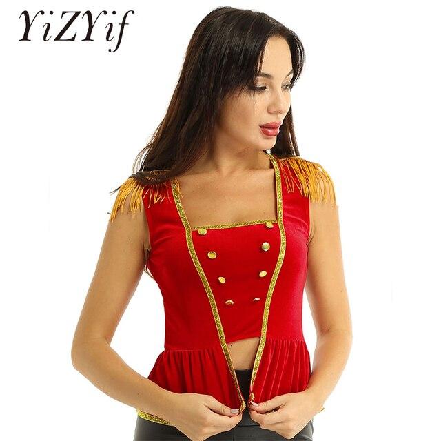 Frauen phantasie kleid circus kostüm top Weiche Samt Square Neck Sleeveless mit Epauletten Shirt Top Halloween Circus Kostüm Top