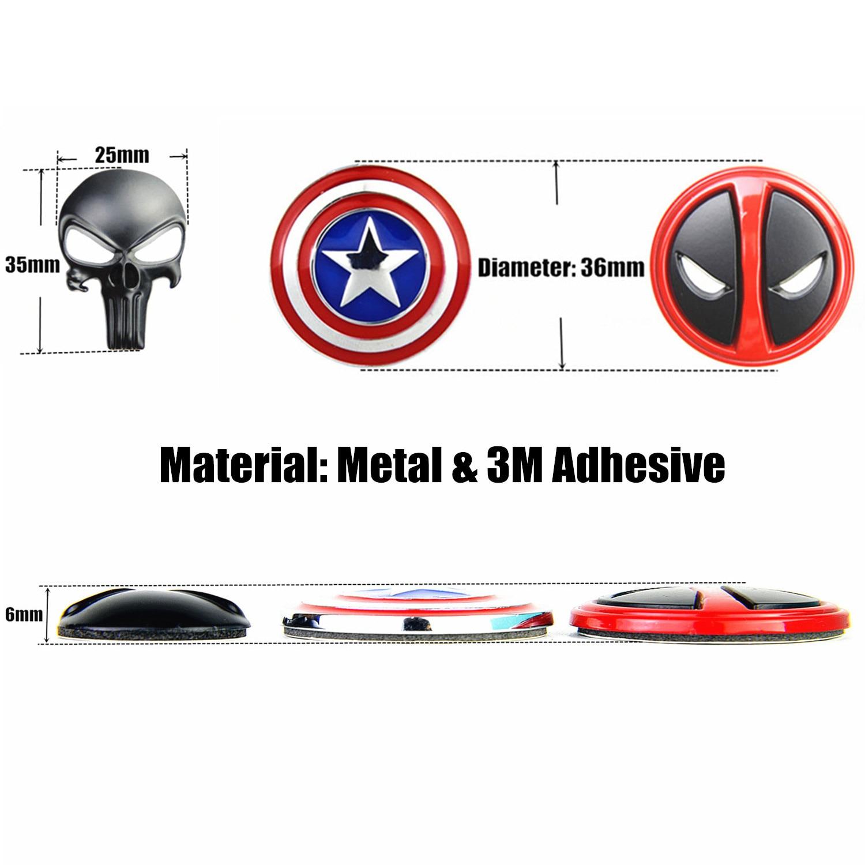 3D naljepnica za kažnjavanje lubanje Deadpool Magwell metalna - Lov - Foto 2