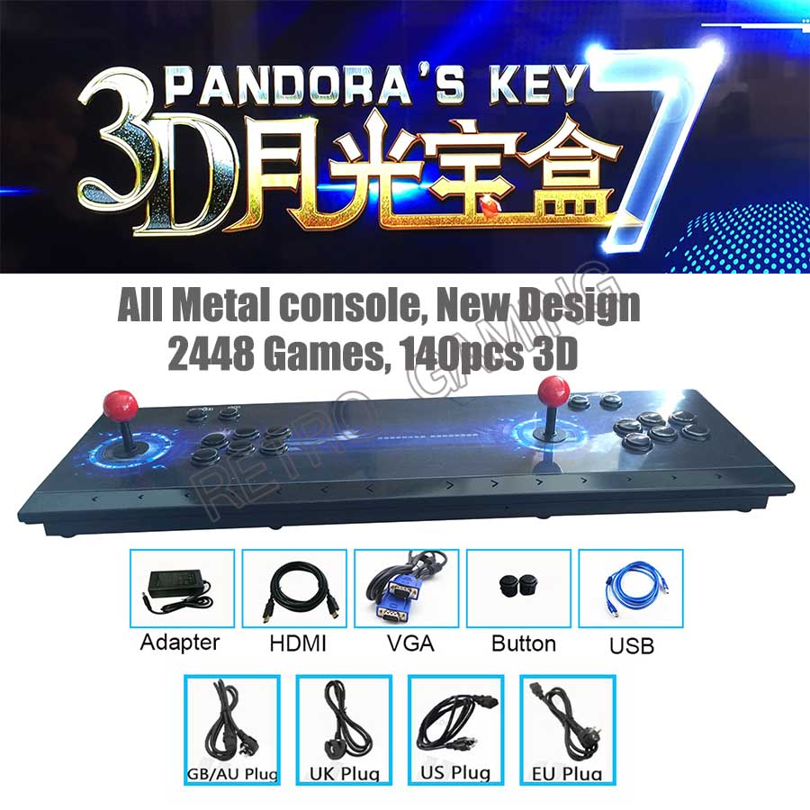 Home TV Arcade Video Game Console Pandora Key 2448 In 1 Save Function Zero Delay 8 Buttons Joystick Controller 140pcs 3D Games