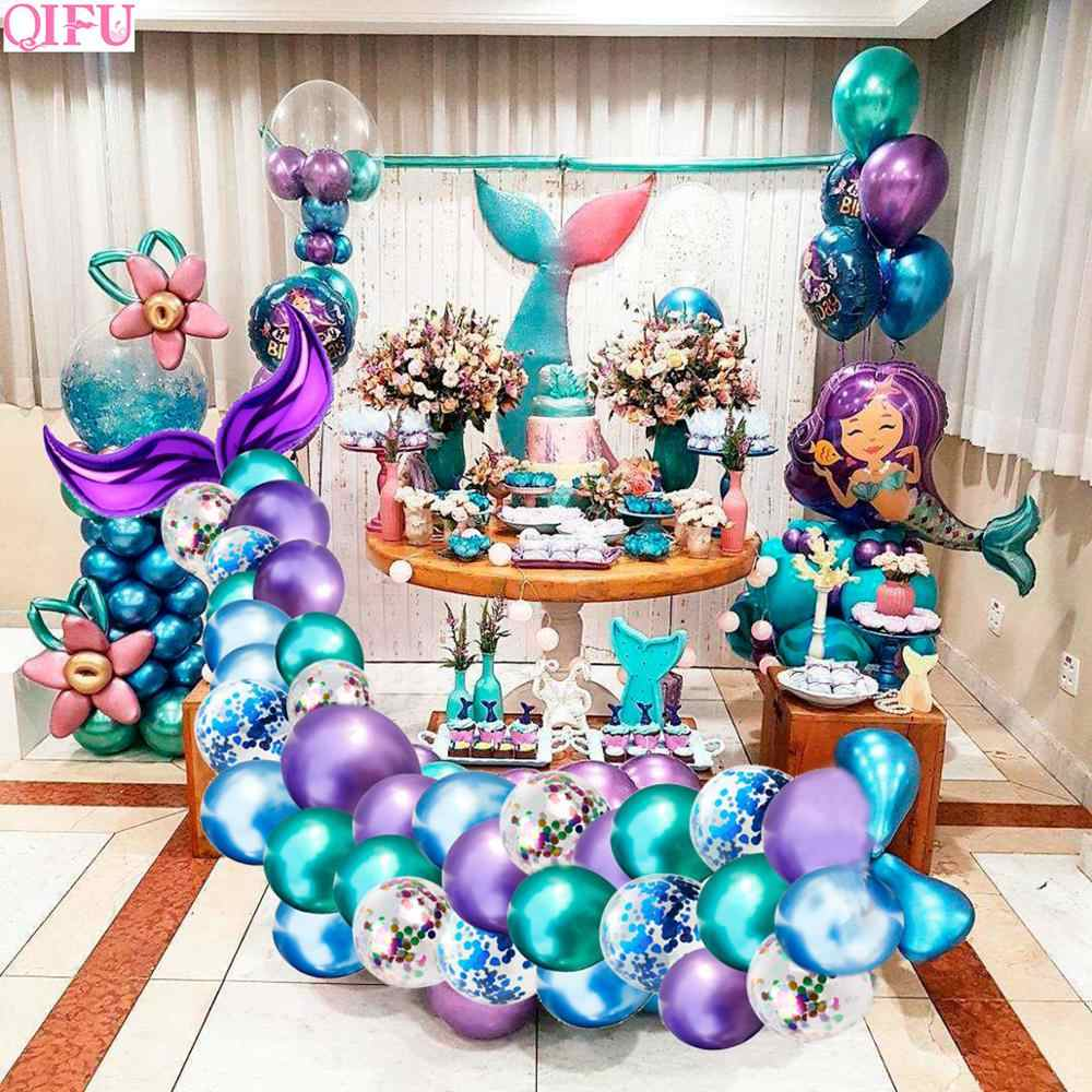 Qifu The Little Mermaid Party Balloon Decor Mermaid Birthday Party Decorations Kids Mermaid Tail Wedding Photo Backdrop Supplies Party Diy Decorations Aliexpress