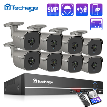 Techage 8CH 5MP HD POE NVR Kit CCTV System Two Way Audio AI IP Camera IR Cut Outdoor P2P Remote Video Security Surveillance Set face recognition 8ch poe network nvr cctv system kit hd 5mp ip camera ir ip66 outdoor waterproof video security surveillance set