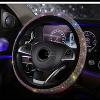Car steering Wheel Cover Black PU Leather Rhinestone Bling Diamond 15 in/38 cm