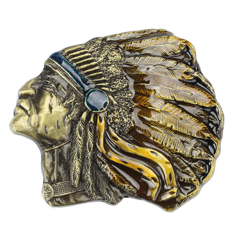 Indian Indigenous Tribal Chief Head Belt Buckle Belt DIY Accessories Western Cowboy Style Smooth Belt Buckle  Punk Rock Style K4