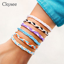 Bohemia Weave Rope Friendship Bracelets For Best Friend Woman Handmade Charm Bracelet & Bangles Wax Line Jewelry Making Gifts(China)