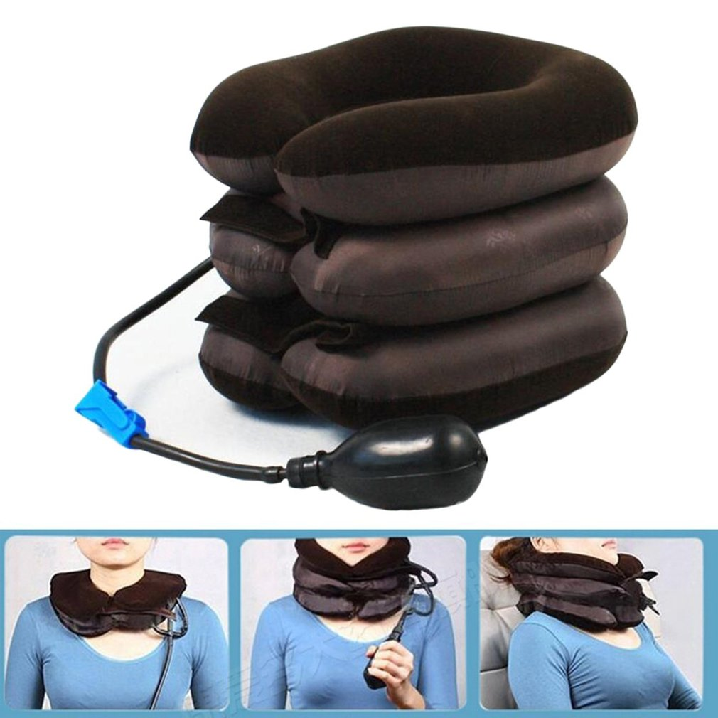 Inflatable 3 Layer Neck Cervical Vertebra Support Traction Soft Device For Pain Relief Neck Head Stretcher Pain Release