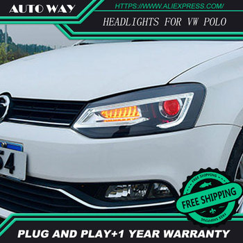 Car Styling For VW POLO headlights 2011-2018 For VW polo headlight front Bi-Xenon Lens Double Beam HID KIT