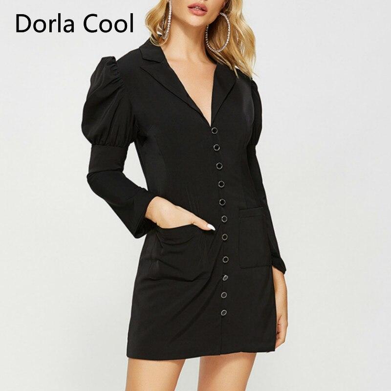 Nouveau Blazer Style robe pour les femmes mince noir élégant robes manches bouffantes haute rue poches dame fête personnalité Vestidos