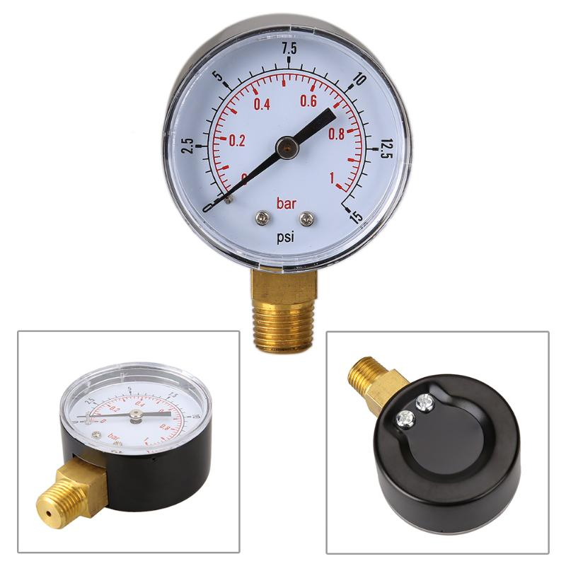 Low Pressure Gauge For Fuel Air Hydraulic 50mm 0/15 PSI 0/1 Bar 1/4 BSPT Applicable To Air Gas Water Fuel Or Others