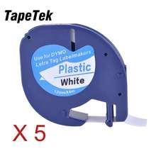 5 cintas de etiquetas de plástico compatibles negro sobre blanco (12mm x 4m) para Dymo LetraTag QX 50, XR, XM, 2000, Plus Label Makers