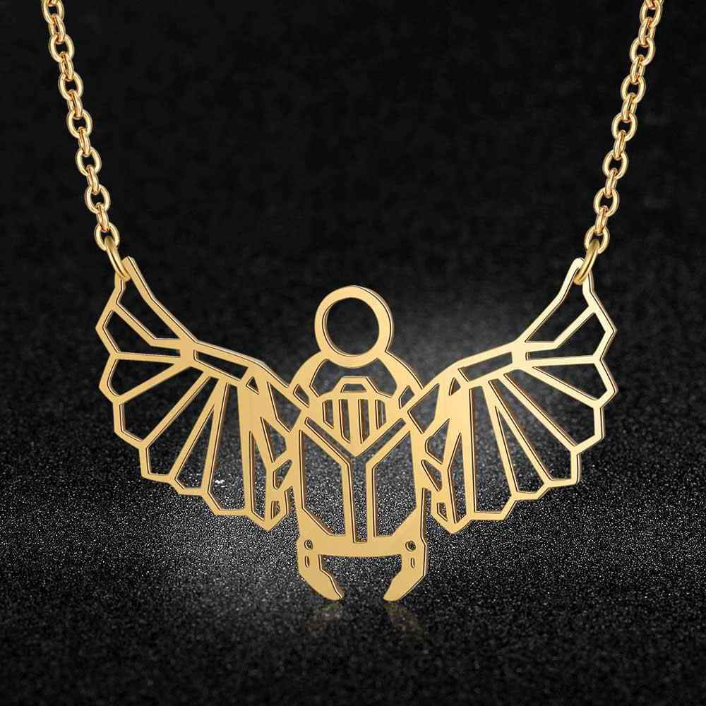 100% Stainless Steel Animal Scarab Fashion Necklace for Women Special Gift Unique Design Pendant Necklaces Wholesale