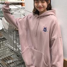 Camisolas femininas sailor moon cat rosa bordado hoodies feminino kawaii coreano 2020 primavera solto moletom com capuz pullovers