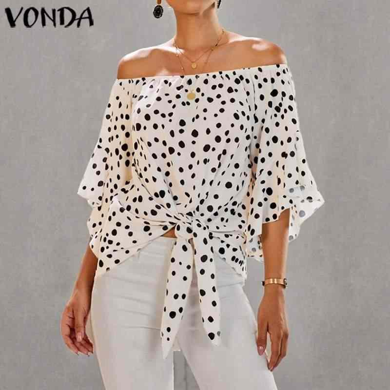 튜닉 여성 블라우스 2020 여름 섹시한 오프 숄더 도트 프린트 셔츠 플러스 사이즈 블라우스 여성 보헤미안 비치 탑스 파티 셔츠
