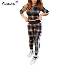 Abasona/Новый пуловер в полоску с длинными рукавами и круглым вырезом, короткий топ, длинные облегающие штаны с эластичной резинкой на талии