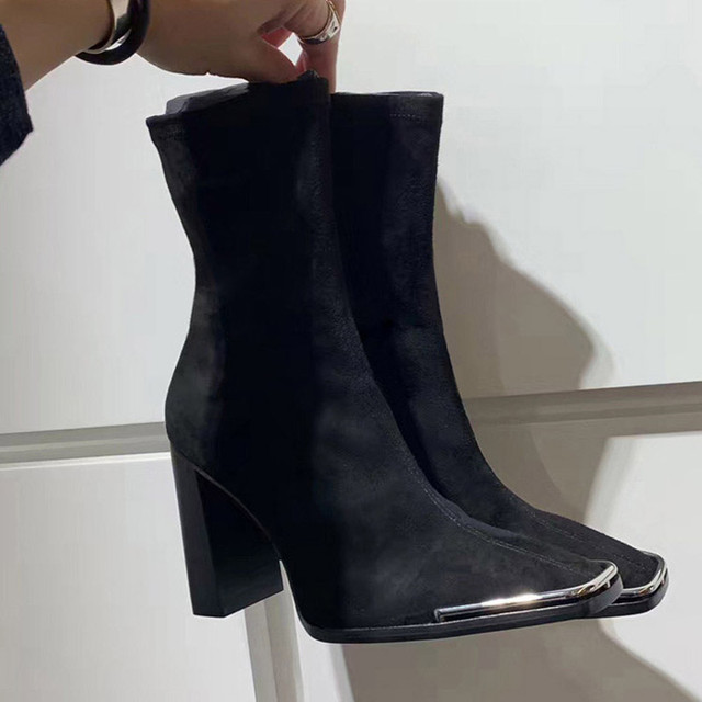Celebrity Shoes Woman Boots Square Head High Heels Metal Sequins Black Leather Elastic Ankle Boots 2019 Winter Fashion Footwear