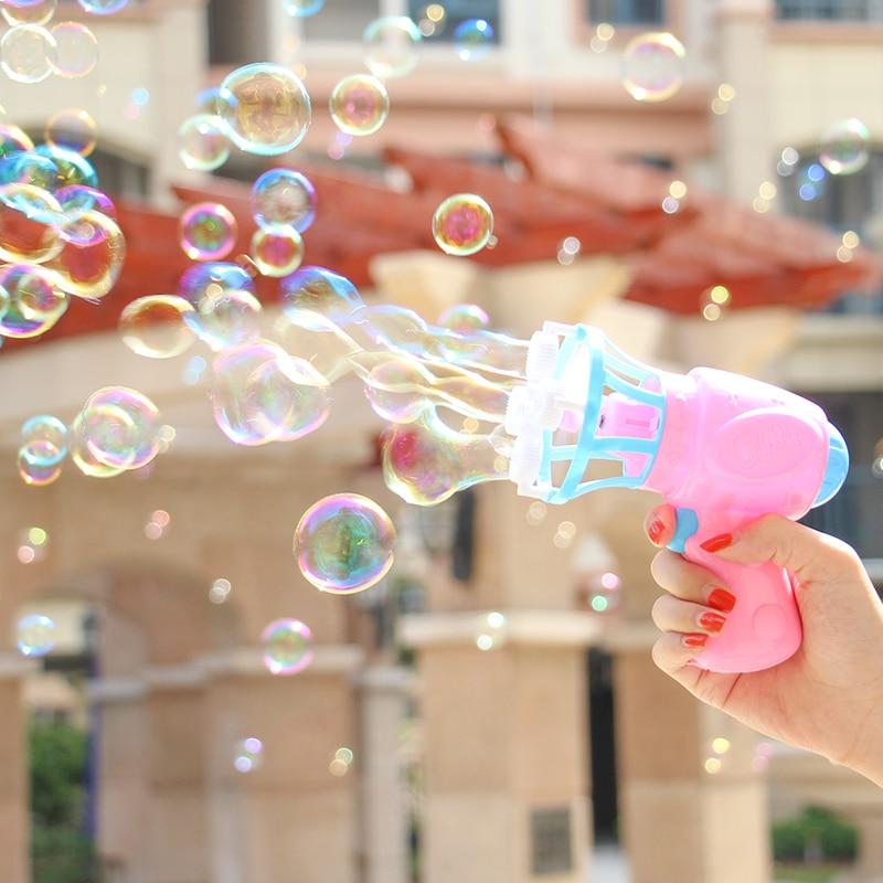 Fun Bubble Blower Machine Toy Kids Soap Water Bubble Gun Cartoon Water Gun Gift For Kids Children Manual Gun Blower