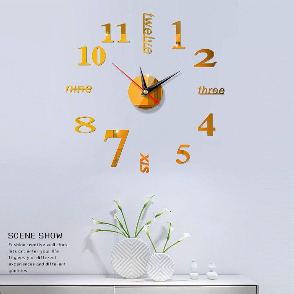 Nieuwe 1Stuk Nieuwe Klok Horloge Wandklokken Horloge 3d Diy Acryl Spiegel Stickers Woonkamer Quartz Naald Home Decor Muurstickers