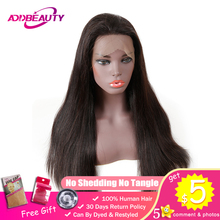 Addbeauty Straight 360 Lace Frontal Wigs For Black Woman Pre Plucked Hairline 180% Density Brazilian Remy Human Hair Product