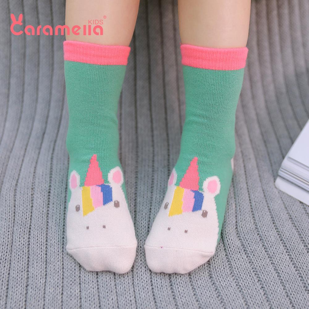 Caramella 3Pairs Unicorn Kids Baby Short Socks Cute Children Stripe Winter Socks For Girls Boys Seamless Ankle Cotton Socks
