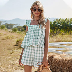 2021 Spring New Sweet Plaid Set Women Ruffles Square Collar Tank Top For Women Shorts Co-ords Fashion Summer Two Piece Sets
