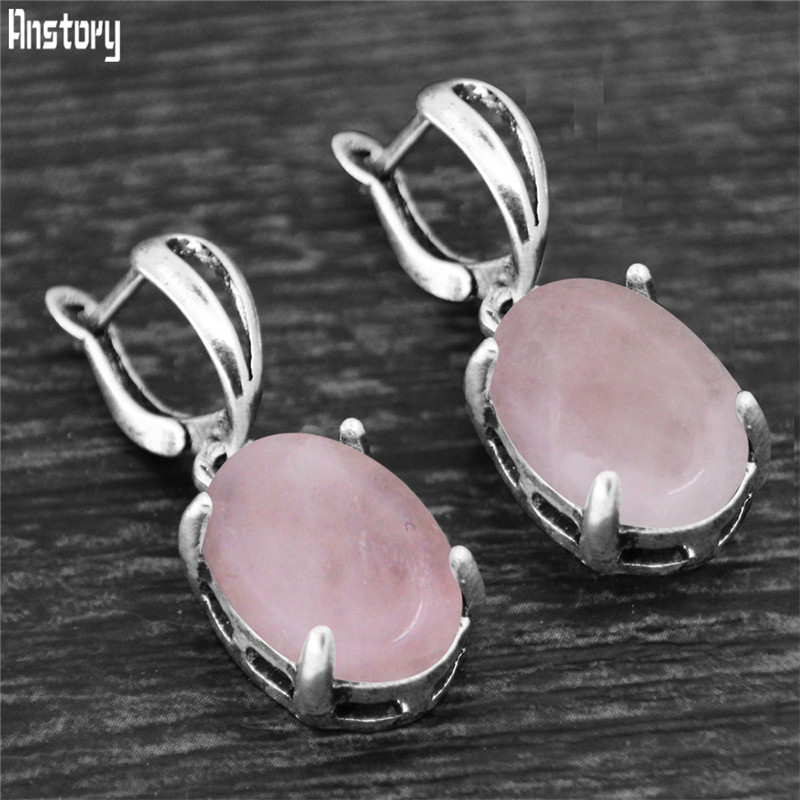 Vintage Natural Quartz Jades Amethysts Claw Pendant Earrings Antique Silver Plated Natural Stone Unakite Fashion Women Earring
