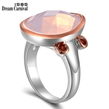 DreamCarnival1989 New Pink Color Radiant Cut Zirconia Ring for Women Wedding Engagement Top Brand Unique Fashion Jewelry WA11716