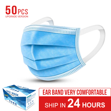 50pcs KN95 Non Woven Disposable Face Mask 3 Layer Dental Earloop Activated Carbon Anti-Dust Face Surgical mouth cover masks