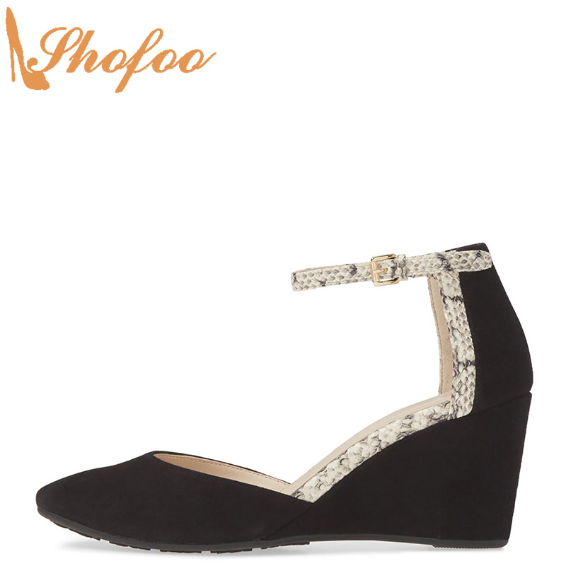 Black Snake Print High Wedge Heels Pumps Round Toe Woman Ankle Strap Large Size 13 16 Ladies Fashion Office Mature Shoes Shofoo