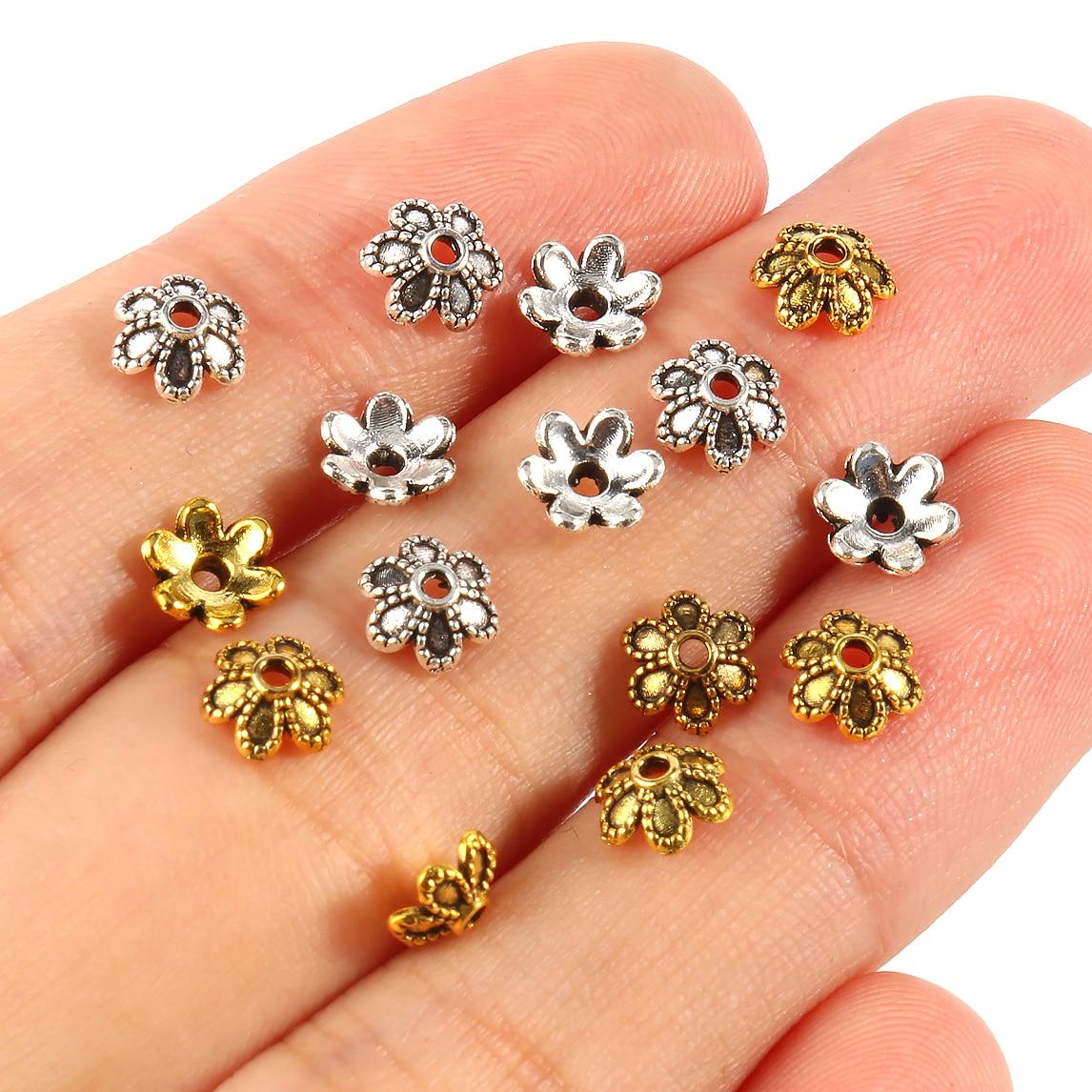 Тибетские антикварные золотые и серебряные цветные бусины с цветами, Концевики для изготовления ювелирных изделий, шапочки для бусин с отв...
