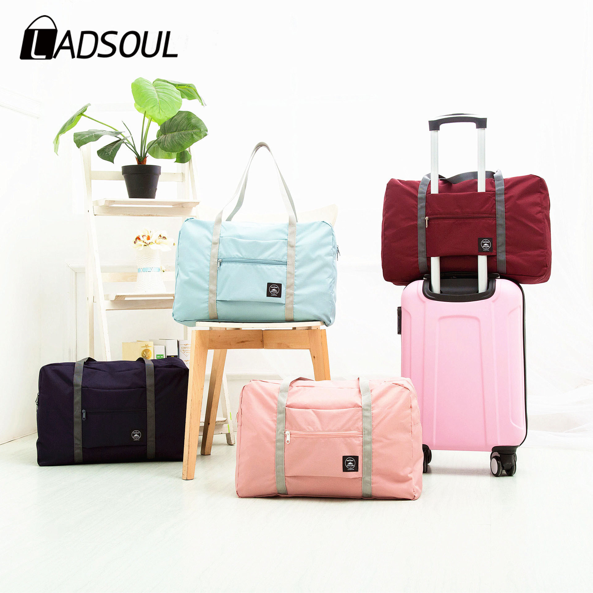 LADSOUL Men And Women Portable Travel Storage Bag Folding Trolley Bag Can Be Shoulder Portable Bag Large Capacity